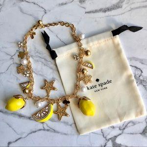 Kate Spade Enamel Lemon Pearl Charm Necklace